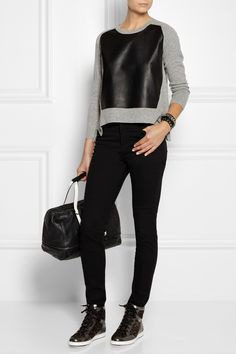 Mason by Michelle Mason | Leather-paneled wool and cashmere-blend sweater | NET-A-PORTER.COM