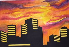 Cityscape Positive And Negative, Negative Space, Skyline Silhouette, Student, Painting, Art, Art Background, Painting Art, Kunst