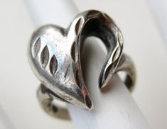 Vintage Heart Ring Sterling Silver Sweetheart by SoCalJewelBox