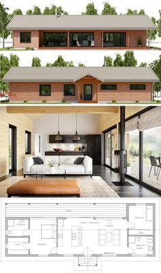 Small House Plan, Small Home Plan Affordable House Plans, Affordable Housing, Tiny House Design, Modern House Design, Casas Containers, Small Modern Home, Container House Plans, Small House Plans, Rectangle House Plans