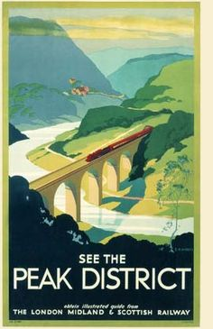 Peak District, England by London Midland & Scottish Railway. English Railway Travel Poster,See The Peak District , [post_tags Posters Uk, Train Posters, Railway Posters, Art Deco Posters, Poster Prints, Travel English, British Travel, Peak District England, National Railway Museum