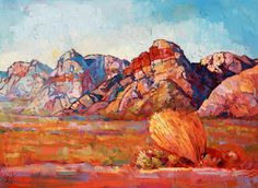 Rainbow Mountains, Red Rock Canyon, original oil painting by climbing artist Erin Hanson