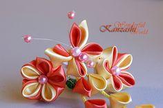Tsumami Kanzashi Fabric Flower Hair Pin Orange and Yellow | Flickr - Photo Sharing!