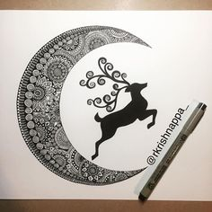 Getting back to drawing after a long time . . . #potpourriofartists #deer #deersofinstagram #moon #moontattoo #tattoopins #tattsketches #crescent #crescentmoon #crescentmoontattoo #mandala #zentangle #zendoodle #zenart #bangaloreartists #indianartist #ncartist #ornatetattoo #christmas #christmascard #rashmisartpage #poacompetition13