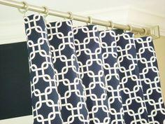 "For Leo big boy room?    Pair Of Custom Modern Designer Rod Pocket Clip Ring Curtain Drapery Panels 50""Wide x 96"" Long Navy Blue/White Blindstitched. $145.00, via Etsy."