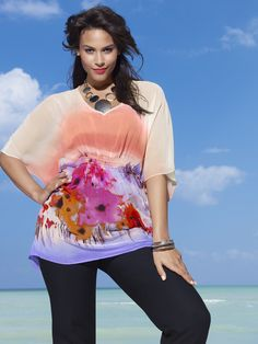 Watercolor Floral Sheer Blouse. Absolutely stunning! This one will go fast - get it now! #lanebryant #spring