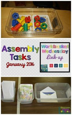 Assembly work tasks for workboxes and independent work systems--great for TEACCH systems and structured teaching. Part of Workbasket Wednesday's linkup of posts. The materials can be assembled as well as disassembled. This is a very hands on activity. Life Skills Activities, Life Skills Classroom, Autism Activities, Autism Classroom, Sorting Activities, Classroom Setup, Classroom Resources, Vocational Activities, Vocational Skills