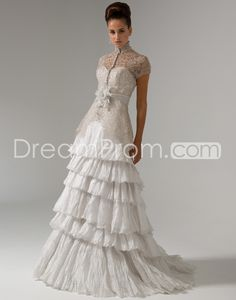 Glorious A-Line High-neck Short-Sleeve Court Train Tiered Lace  Wedding Dresses