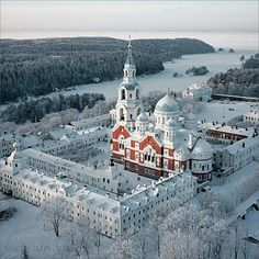 Aerial view of Valaam Monastery in Russia.