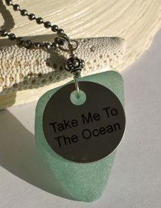 Light Turquoise Sea Glass Take Me To The Ocean Pendant, $45.00