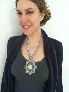 Our friend Monique at the ENK show wearing a one of a kind creation from Mars & Valentine; An antique micro mosaic frame and an italian lava cameo from the same period. Necklace is aqua marine and white topaz stones. Aqua Marine, Pompeii, White Topaz, Lava, Turquoise Necklace, Period, Mosaic, Stones, Italy