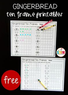 Free gingerbread ten frames. Fun math center or morning work for preschool or kindergarten!