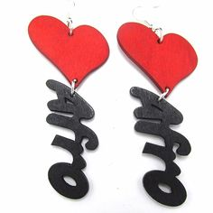 Wooden Heart Afro Fashion Statement Spellout Earrings Condition: New Materials: Laser Cut Wood with Metal Alloy Hooks Measurements: Drop- L x W (Widest part of heart) Color: Black and red Made in China Wooden Earrings, Unique Earrings, Beautiful Earrings, Earrings Handmade, Handmade Jewelry, Unique Jewelry, Diy Earrings, Body Jewelry, Jewlery
