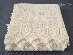 Shawl by Lace Knit. Extra soft hand knitted lace baby shawl / baby christening shawl. Ivory square shawl / wrap / blanket. Made to order
