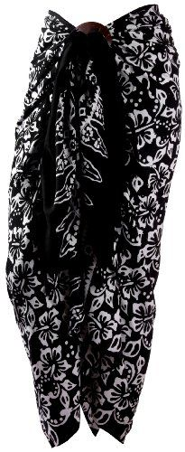 Sarong Black & White Bathing Suit Wrap With Buckle. Silky Soft Handcrafted Batik From Bali. Multi-use: pareo, coverup, shawl, scarf, skirt, dress.