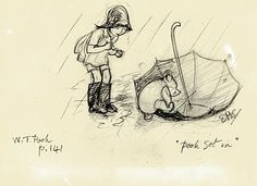 Winnie the Pooh Sketches in Pencil | Shepard Winnie The Pooh Drawings