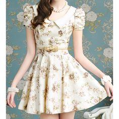 Vintage Floral Print Peter Pan Collar Puff Sleeves Women's Pleated Dress, LIGHT APRICOT, S in Print Dresses | DressLily.com