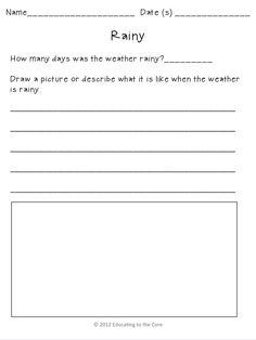 Weather Graphing and writing piece Freebie from Educating to the Core!