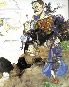 Final Fantasy VI Cyan- this game's characters are all so well planned. Cyan, you will always hd a soft spot in my heart Final Fantasy Iv, Fantasy Series, Fantasy Art, Yoshitaka Amano, Japanese Games, Medieval, Manga Artist, Fantasy Inspiration, Japanese Artists