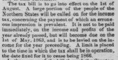 """The Passage of the Tax Bill"" detailing the new income tax, from the N.Y. Herald, printed in The Indiana State Sentinel: Vol. 22, No. 6, Whole No. 1,199,…"