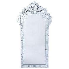 "Venetian Glass Mirror, $229.  21""Wx40.25""H.  Could put sconces on each side to make it feel bigger (candle sconces) or 2 buffet lamps on the table below, for real light."