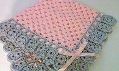 Crochet Baby Blanket and Hat Set Newborn Hat in Pink/Gray ...