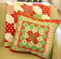 Lori Holt's Great Granny Squared with a Twist Christmas Pillow by Trish Poolson of Notes of Sincerity with Little Joys fabric by Elea Lutz for Penny Rose Fabrics