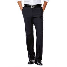 Men's Haggar No Iron Solid Straight-Fit Flat-Front Dress Pants, Size: 34X29, Black
