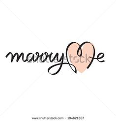 marry me hand lettering handmade calligraphy - stock vector