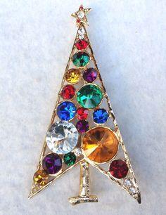 "Tall 3 5"" Vintage Christmas Tree Pin Rivoli Rhinestone Pin Tall Tree Modernist | eBay"