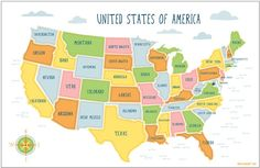 Map Of USA Showing Point Of Interest Major Cities States And - Map of usa major cities