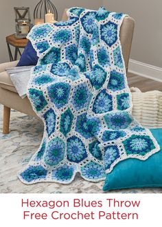 Hexagon Blues Throw Free Crochet Pattern in Red Heart Super Saver yarn