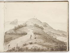 Signal Hill with Nobbys in the distance from Edward Charles Close's - sketchbook of New South Wales views, c. Newcastle Town, My Town, Aboriginal Art, Antique Prints, Historical Photos, Old Photos, Monument Valley, Past, Signal Hill