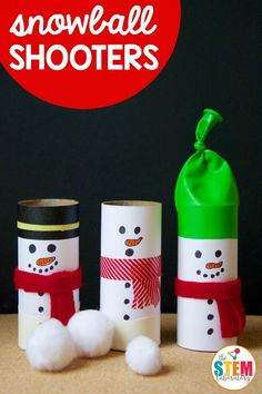 These oh so cute snowball shooters are a snap to make and are a hilariously fun way to explore some key concepts in physics with preschool, kindergarten and first grade kids! Can winter STEM get any better than? Winter Activities For Kids, Winter Crafts For Kids, Winter Fun, Christmas Activities, Winter Theme, Kids Christmas, Steam Activities, Class Activities, Winter Ideas