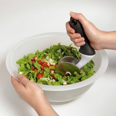 This bowl-and-chopper combo that lets you slice your whole salad right up in there. | 12 Time-Saving Kitchen Products You Need In Your Life