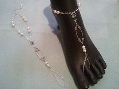 Pearl and Crystal Barefoot Sandals - Perfect for that outside or beach wedding!
