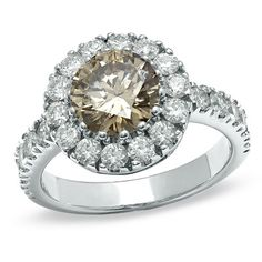 {Exquisite} Cognac and White Diamond Frame Ring