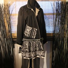 Black Silk Jacket Tunic Fringe Sequins Pockets Gypsy Dance Hippie Rocker Coat Medium - Large Plus Art to Wear OOAK by Gypsyetta on Etsy