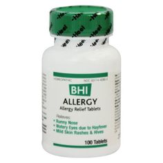 Allergy 100 Tabs  HOMEOPATHIC Medicine  Relieves: • Runny Nose • Watery Eyes due to Hayfever • Mild Skin Rashes & Hives  Uses: For the temporary relief of minor allergy symptoms: runny nose, watery eyes, skin irritations  Directions: At first sign of symptoms: Adults and children 4 years and older: 1 tablet every 1/2 to 1 hour until symptoms lessen, then continue with standard dosage.