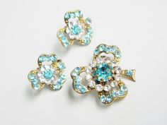 Blue Rhinestone Clover Brooch & Earrings 50s by GrandVintageFinery, $27.95