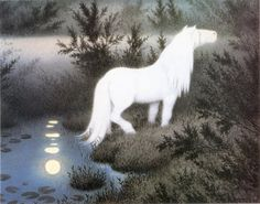 pestaitrappen: Nøkken Som Hvit Hest (The Nix As a Brook Horse) by Theodor Kittelsen (1909). The Scandinavian näck, näkki, nøkk, nøkken, strömkarl, Grim or Fosse-Grim were male water spirits who played enchanted songs on the violin, luring women and children to drown in lakes or streams. It is difficult to describe the actual appearance of the nix, as one of his central attributes was thought to be shapeshifting. Perhaps he did not have any true shape. He could show himself as a man playing…