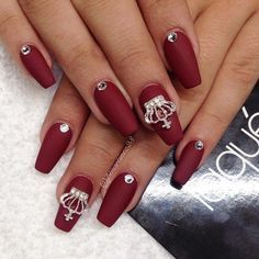 Image result for burgundy nails with stones