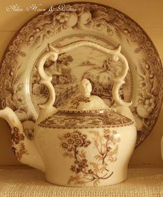 Aiken House & Gardens: Brown & White Transferware Cupboard