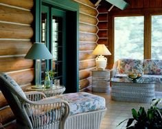 On a log cabin' s porch