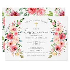 Baptism Invitations Girl, First Communion Invitations, Custom Invitations, Virtual Flowers, Peony Rose, Watercolor Flowers, Spring Time, Flower Designs, Event Planning