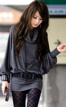 Chic Gray Knitted Cotton Long Sleeve Women's Sweater Dress