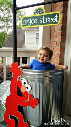 Trash can with oscar in it.