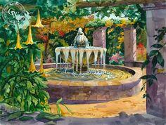 Spring at the Mexican Fountain, Descanso Gardens – California Watercolor