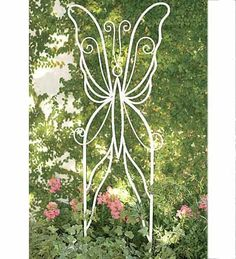 """Metal Plant Butterly Trellis by Wind & Weather®. $49.95. Supports climbing vines. Butterfly motif. Weather-resistant. Butterfly trellis. 24""""W x 56""""H. Featuring our popular butterfly motif, this durable metal trellis is strong enough to support climbing vines while dressing up your garden. A charming complement to our butterfly seating group."""