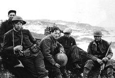WW2 Norway 1940. Norwegian soldiers behind a machine gun position at Hegra fortress